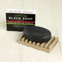 African Cocoa Butter Black Soap with Vitamin E
